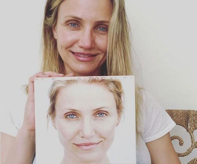"Cameron Diaz posed au natural (well, her face anyway) with her [new book](https://www.instagram.com/camerondiaz/|target=""_blank""