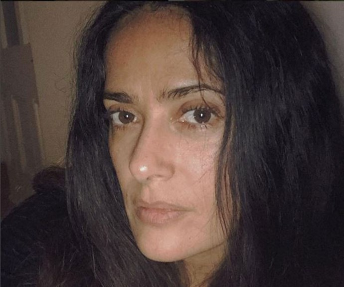 Salma Hayek jokingly referred to this photo as her ['Monday face'](https://www.instagram.com/p/BPBMlViAYkM/?hl=en).