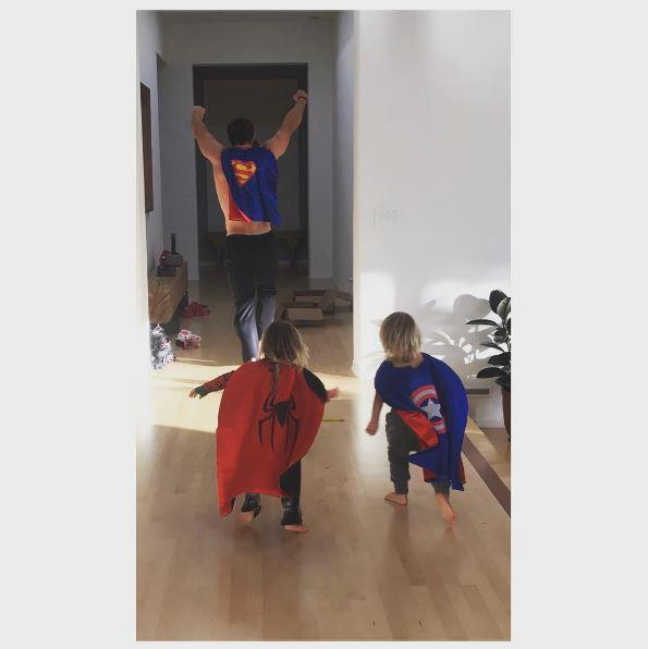 "Elsa Pataky posted this hilarious photo of hubby Chris Hemsworth playing with their twin sons. ""Superhero camp!!,"" she wrote."