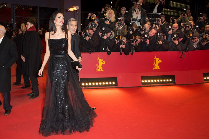 That's it George, to the back please. We need to see this vintage gown Amal wore to the February 2016 Berlin International Film Festival in all its glory thanks.