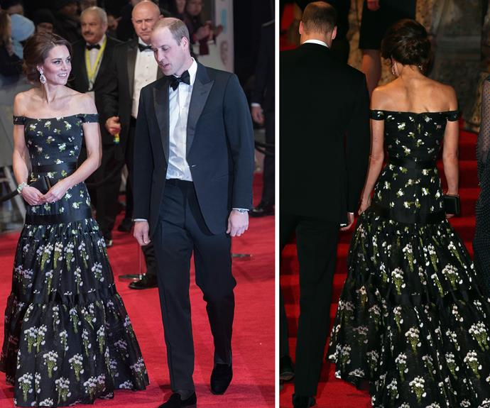 It's all about the details: The Duchess' bespoke custom-made dress by Alexander McQueen was a seriously chic choice.