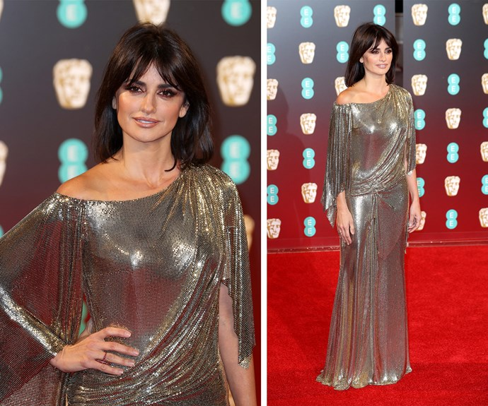 Penelope Cruz packs a punch in this glittering silver gown.