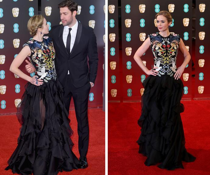 Beat Actress in a Leading Role nominee Emily Blunt was joined by her number one fan, John Krasinski.