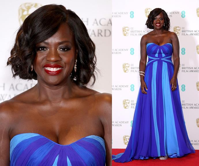 Best Actress nominee Viola Davis looks ready to win some awards in this royal blue dress.