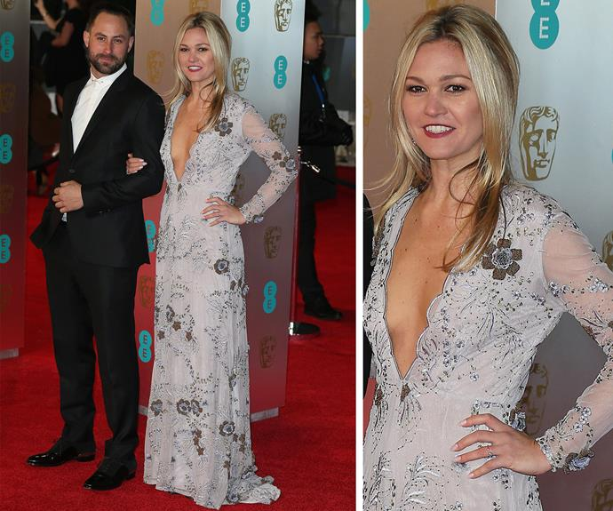Julia Stiles looks enchanting in her plunging lace number.