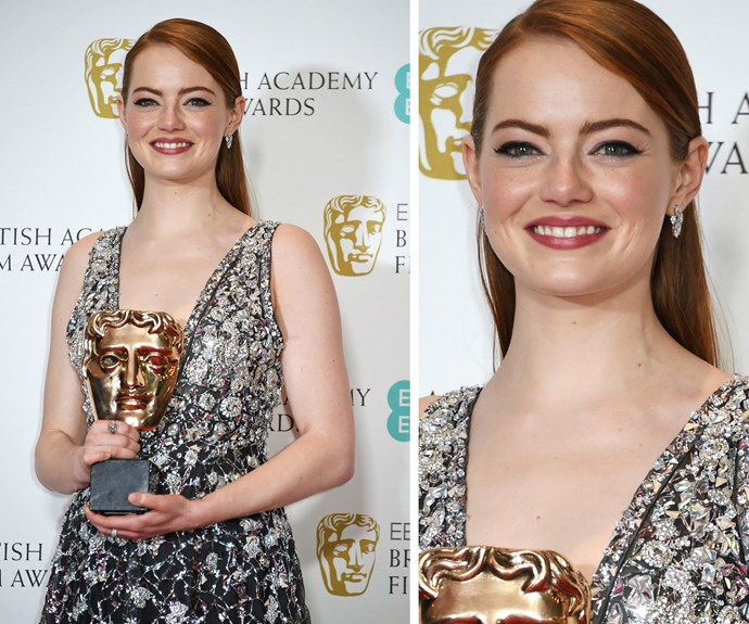 Now that's the smile of someone who knows they're going to get an Oscar in a week... Emma Stone has just taken out the BAFTA for best actress.