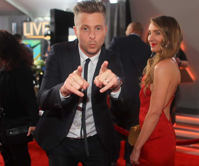 One Republic's Ryan Tedder plays up for the cameras.