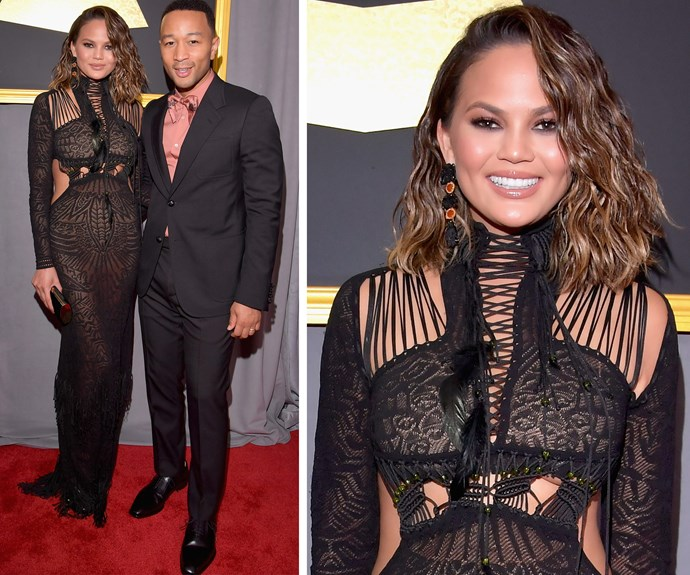 Everyone's fave couple John Legend and Chrissy Teigen work coordinating black outfits.