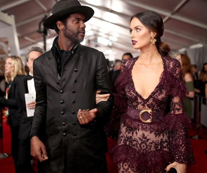 Gary Clark Jr and his Aussie supermodel partner Nicole Trunfio.