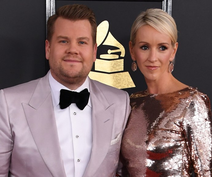 Ahead of his big night of hosting, James Corden takes a moment to soak it all in with his wife.