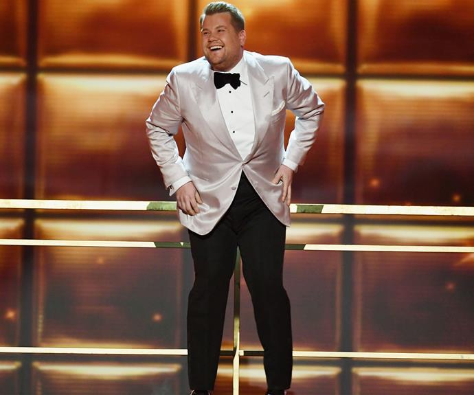 Grammys host James Corden looks far from nervous.