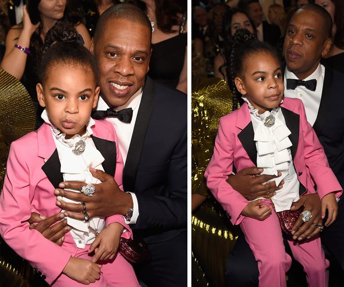 Daddy-daughter date night! Blue Ivy joins Jay Z front row at the Grammys.