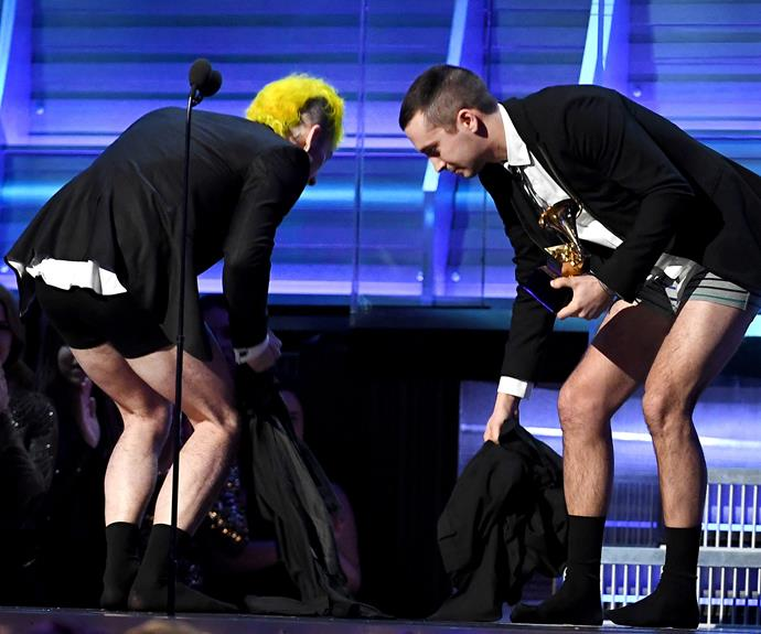 Twenty One Pilots vowed if they'd ever win a Grammy they'd accept it in their jocks... What they were wearing when they formed their band.