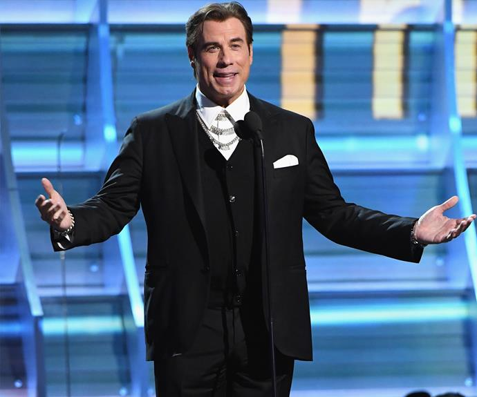 John Travolta is at the Grammys to help the Bee Gees celebrate their 40th anniversary of Saturday Night Fever.