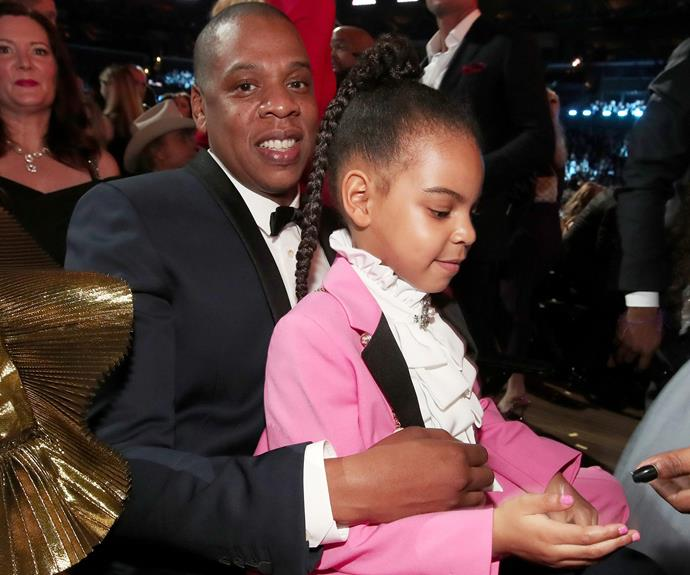 Jay and Blue Ivy cheered Beyonce on from the crowd.