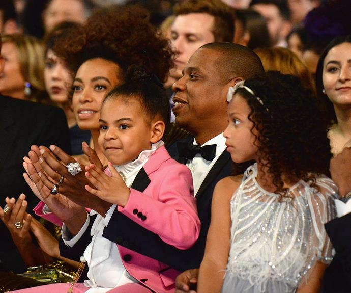 Sister Solange Knowles, Jay and Blue Ivy showing their support.