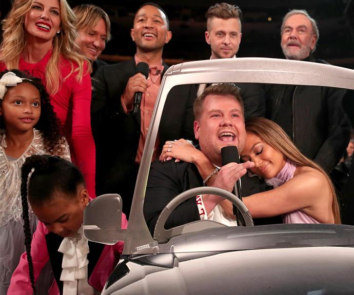 James Corden decided to recreate carpool karaoke with some friends including JLo, Faith Hill, Keith Urban, John Legend, Ryan Teddy, Neil Diamond and BLUE IVY.