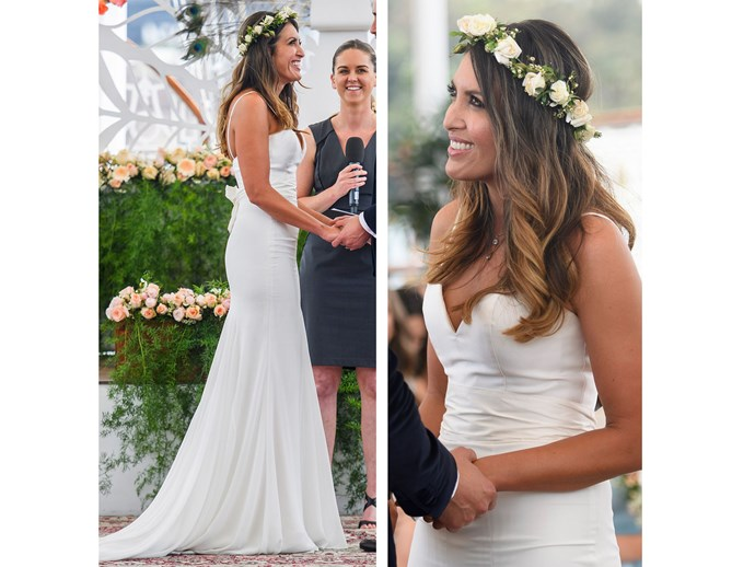 **1.** Nadia hasn't made a big impact on the show, after all it appears her marriage with Anthony is one of the few actually working out, but her dress is something we will definitely never forget. Understated with a modest flower crown (take note, Deb), she looked like a Grecian goddess. It's no wonder Anthony is so taken with her, girl's got class.