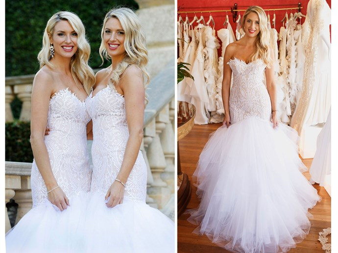 "**10 & 9.** We get their twins, but we're sure Sharon and Michelle will be glad these matching, mermaid hem, tulle gowns are just for their ""reality"" wedding and not the real deal. Sorry guys, we just weren't feeling it."