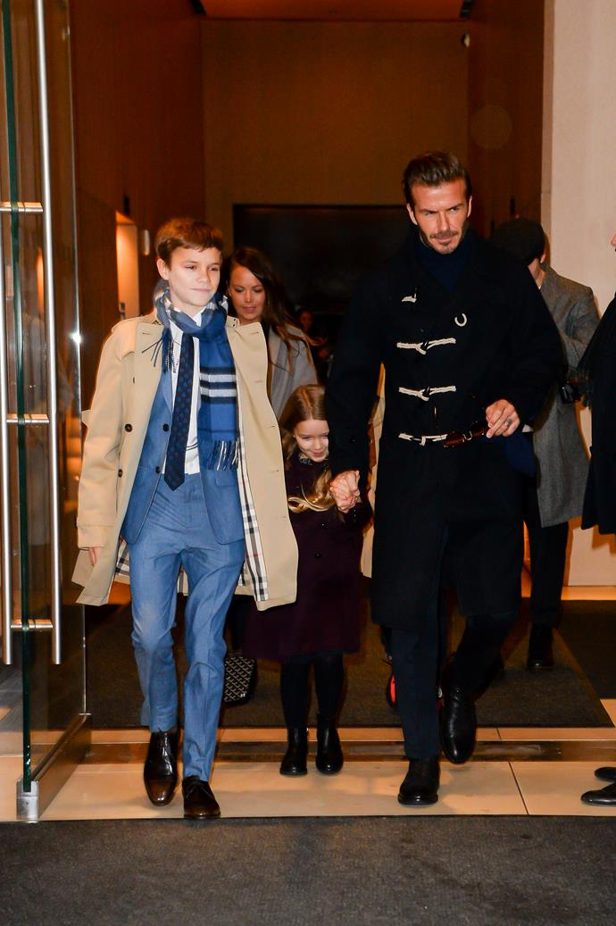 David Beckham steps out with his kids on the way to wife Victoria's fashion show at NYFW.