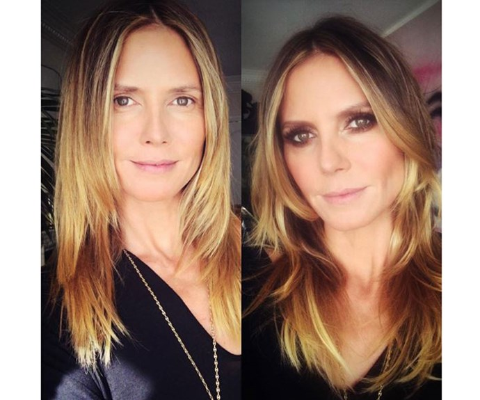 "Heidi Klum looked stunning on the red carpet (can you believe she is 45?!) but before she got all dolled up she posted this no makeup selfie to her Instagram, thanking her glam squad ""Before and after #grammys 💋🎤🎤🎤🎤😃 @lindahaymakeup @wendyiles_hair"""