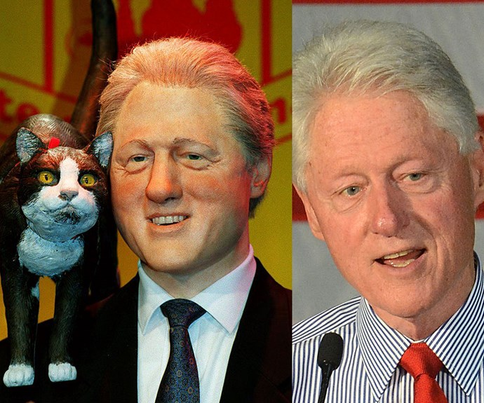 Whoever made this Bill Clinton figure needs to step away from the wax. But perhaps more pressing is why faux Bill has a cat on his shoulder. No really, any ideas?