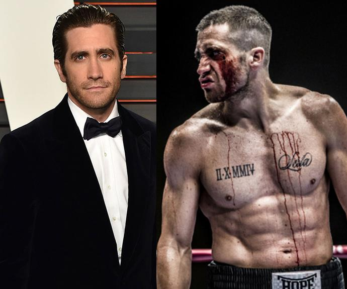 Jake Gyllenhaal gained 12kgs of muscle to play a boxer in the film *South Paw*. A gruelling excise routine meant he spent up to six hours working out in the gym everyday.