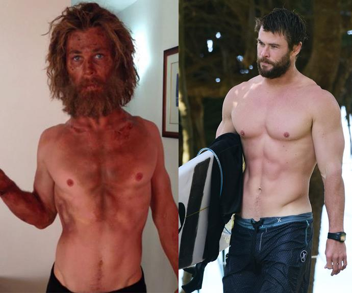 The Aussie babe is usually buff and fighting fit, but for his role in *In the Heart of the Sea*, Chris Hemsworth shrunk to a lean and bearded version of himself.