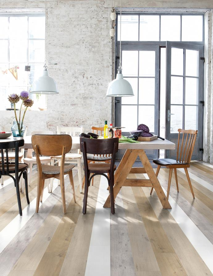 Don't be afraid to mix and match colours. These [mismatched floorboards](http://www.quick-step.com.au/en-au/find-your-floor?uf_Ranges=flooring_rangesummary/fc17c267-7a3e-4b4d-99c7-0cf6d447437b) and different chairs add an an eclectic edge to your home - and buying solo pieces can be much cheaper than shopping for a set! *Photo: Quick-Step*