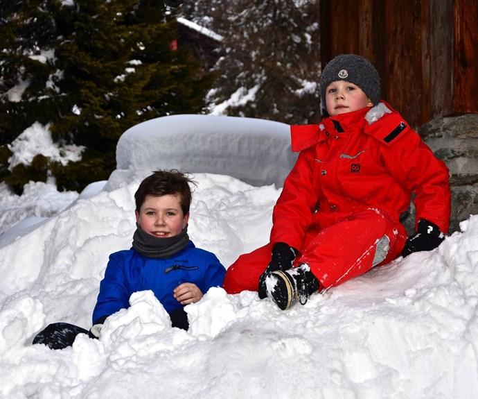 Prince Christian and Vincent kick back in the snow. (Photo/HRH Crown Princess via @detdanskekongehus)