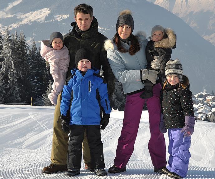 The Danish Royals, pictured all together in 2012, love Verbier.