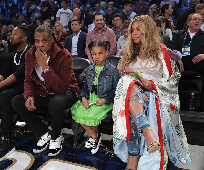 The Carter-Knowles clan has front-row seats at the NBA All-Star Game in New Orleans, Louisiana.