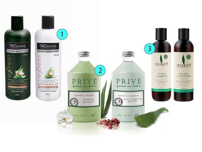 1. Tresemmé Expert Botanique Restore & Shine Shampoo and Conditioner, $6.99 each, tresemme.com.au 2. Privé Reparative Shampoo and Conditioner, $46 (set of two), sydneysalonsupplies.com.au 3. Sukin Purifying Shampoo and Nourishing Conditioner, $7.95 each, sukinorganics.com