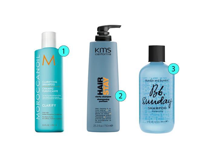 1. Moroccanoil Clarifying Shampoo, $37.95, moroccanoil.com/au 2. KMS California Hair Stay Clarify Shampoo, $33, kmscalifornia.com  3. Bumble and Bumble Sunday Shampoo, $36, mecca.com.au