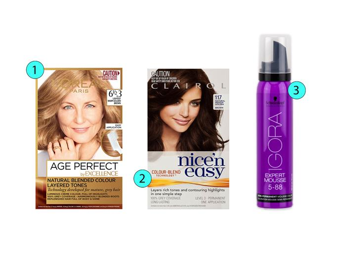 1. L'Oréal Paris Age Perfect by Excellence Natural Blended Colour in Lightest Warm Golden Brown, $19.99, priceline.com.au  2. Clairol Nice'n Easy in Natural Medium Golden Brown, $12.99, priceline.com.au  3. Schwarzkopf Professional Igora Expert Mousse Semi-Permanent Mousse Colour in 5-88, $23.95, priceline.com.au