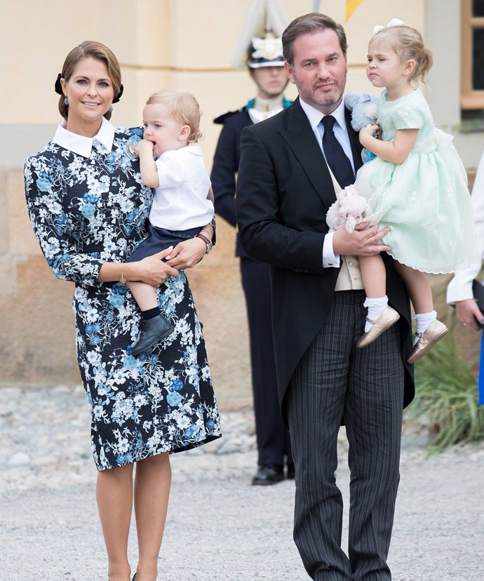 Princess Madeleine with her husband Chris and their two cheeky chums, Leonore and Nicholas.
