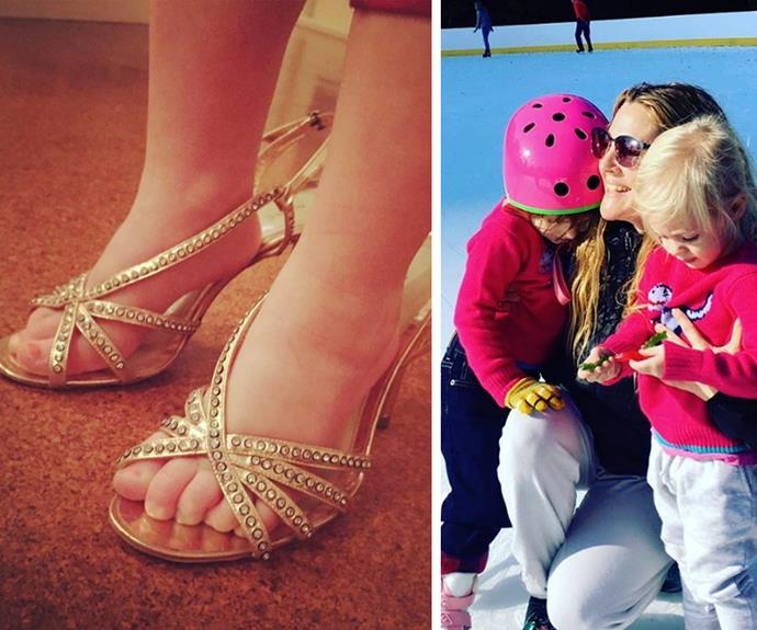 "In her shoes! Drew Barrymore has shared a too-cute-for-words snap of daughter Olive playing dress-ups in her mum's stilettos. ""This is beauty to me. My sweet Olive in my shoes. This is also a girl flirting with felling pretty,"" the 41-year-old captioned the memory."