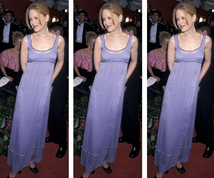 Nicole wore a lavender Dior gown in 1996, complete with a beaded choker - how very 90s.