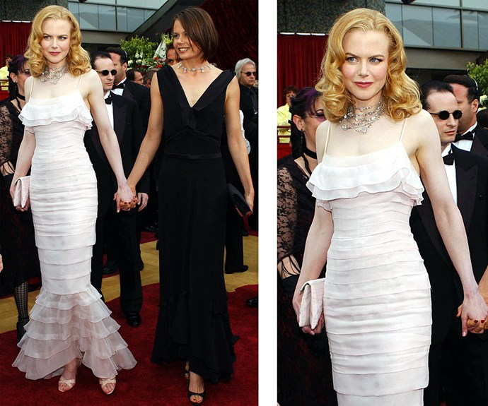 Fresh from her divorce from Tom Cruise, Nicole attended the 2002 ceremony with her sister Antonia. Nicole wore a tulle, blush-coloured Chanel gown, and was nominated for best actress in *Moulin Rouge!*