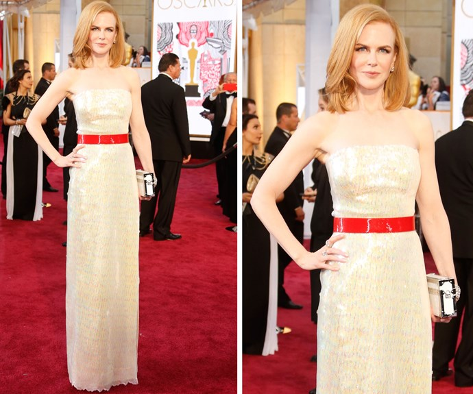 Nicole chose a shimmery gown from Louis Vuitton for the 2015 awards ceremony, finishing her look with a bright-red belt.