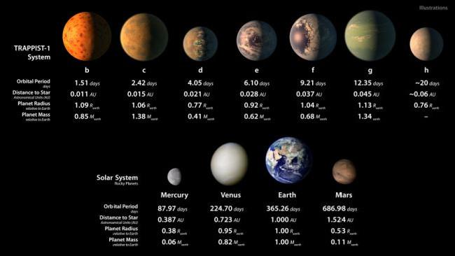 An extrapolation of the TRAPPIST-1 red dwarf planets compared to the rocky worlds in our own Solar System