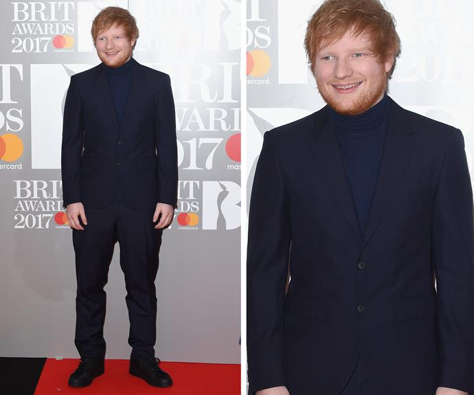 Ed Sheeran  cut a dapper figure in his suit and turtle-neck polo. The 26-year-old, who has lost over 19kgs, will debut a brand new song at the award show.