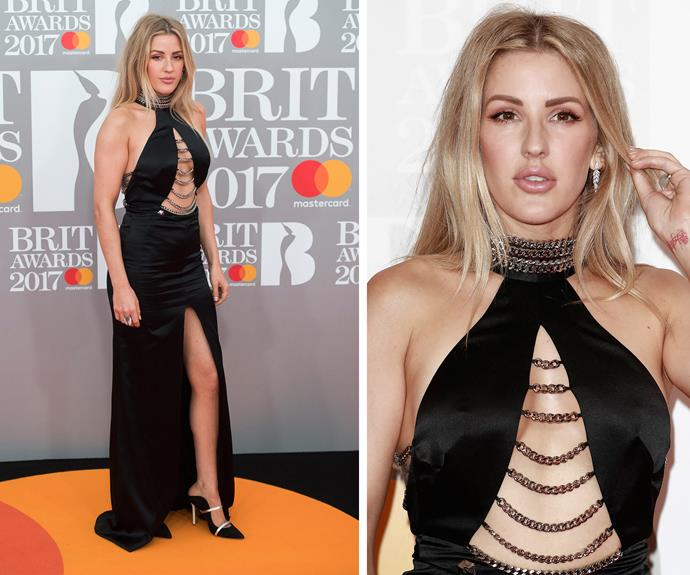 Ellie Goulding is the belle of the Brit ball. Pulling out all the stops, the Best Female nominee rocked a plunging halter with a daring thigh high split and silver chain detail.