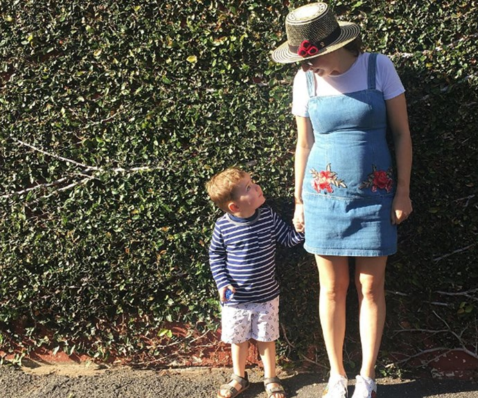 """As she prepared to welcome her and hubby Hamish's second bub, Zoe Foster Blake said a temporary goodbye to some of her favourite items of clothing. """"Sweet son of mine, I'm afraid wearing this pre-pregnancy dress has reduced my oxygen intake to critical levels; this might be our last ever photo. Let's make it cute,"""" she shared."""