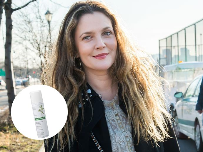 "Self-confessed beauty junkie Drew Barrymore cannot get enough of dry shampoo. ""I you are trying to preserve a blow dry or just like slept in hair, this is the best dry shampoo. Poof and marvel. Spray in at roots and then comb out with a thick brush,"" she wrote on her Instagram review, praising the product.  [Klorane Gentle Dry Shampoo, $14.99, Priceline](https://www.priceline.com.au/klorane-gentle-dry-shampoo-with-oat-milk-150-ml