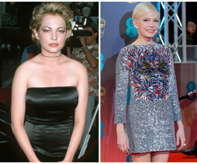 Judging by Michelle Williams expression, she wasn't feeling the strapless number she wore in 1998. Luckily the Best Supporting Actress nominee has since found her stunning Pixie-inspired aesthetic.