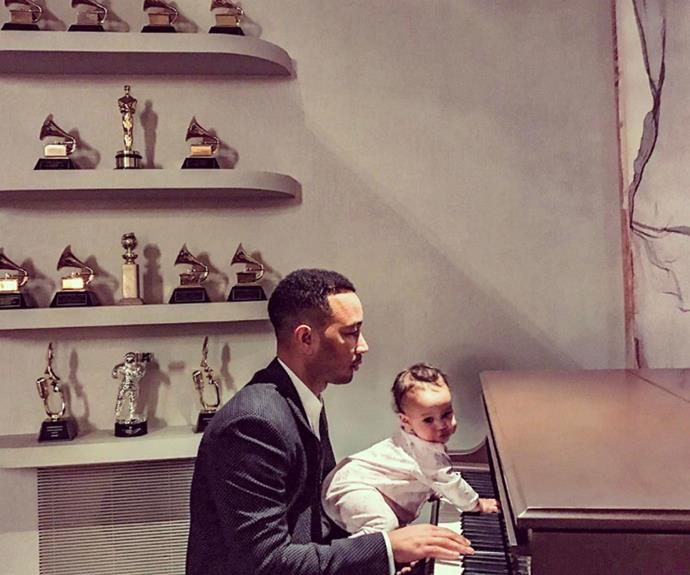 "John Legend playing a musical duet with baby Luna is simply too much for our little hearts to handle. ""Practicing for La La with Luna,"" the doting dad shared ahead his Oscars performance."