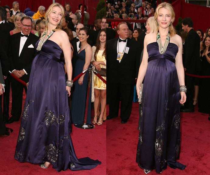 **Best Way To Sport A Baby Bump While Looking Effortless Doing It...** Along with Nicole, another one of our national treasures, [Cate Blanchett](http://www.nowtolove.com.au/celebrity/celeb-news/cate-blanchett-adopts-baby-girl-4651), took to the Kodak Theatre red carpet in her very best Oscars' maternity gown.