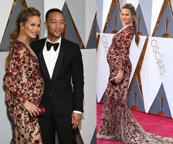 **Best Pregnancy Photoshoot Lean...** Far from ordinary, Chrissy Teigen, here with her husband John Legend, showcases her then-growing tummy at the 2016 Oscars.