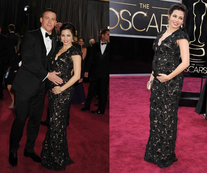 **Best Mother-Father Duo Doting On Their Child When It Hasn't Even Arrived Yet...** We don't know what's sweeter: Jenna Dewan-Tatum proudly showing off her baby bump at the 2013 Oscars, or her then husband Channing Tatum attempting to do the same.